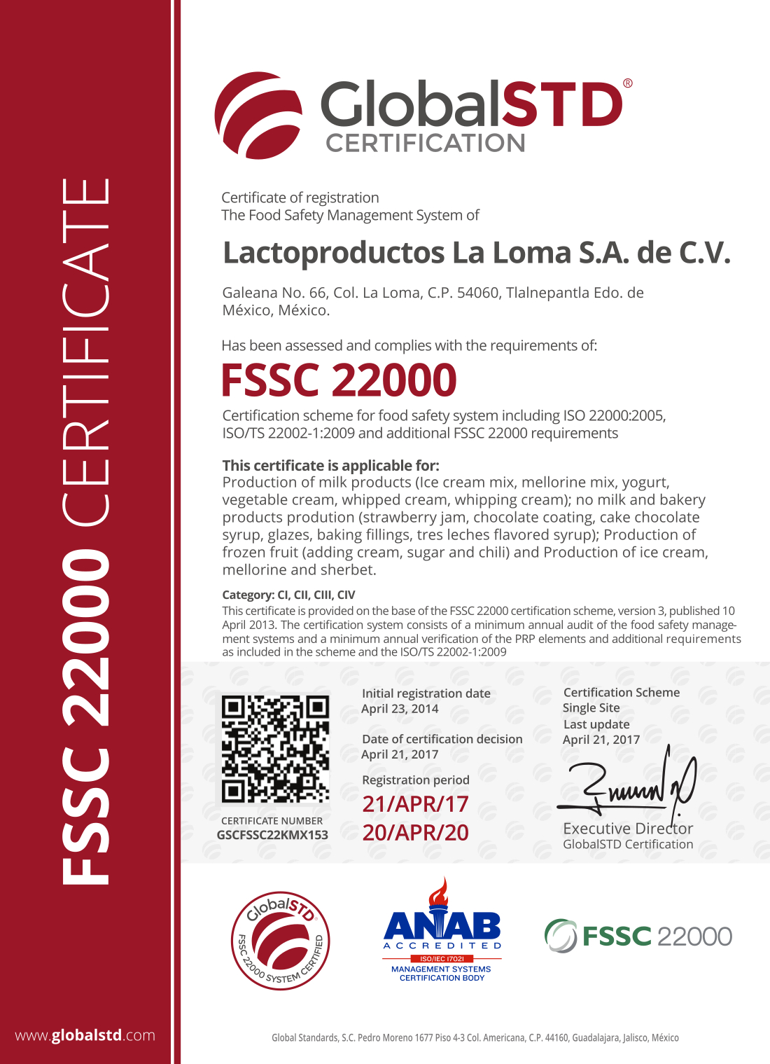 Certificado Calidad La Loma